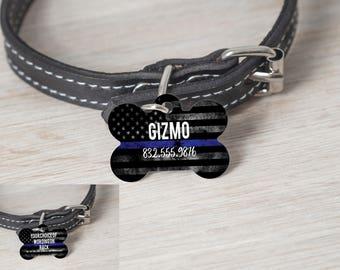 2 Sided TBL - Thin Blue Line Police Dog Tag - Back The Blue - Custom Name - Dog Tags - Custom Tags - Dog Bone Tag - K9 - Thin Blue Line Dog
