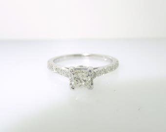 0.81 Carat Diamond Engagement Ring, Princess Cut Diamond Bridal Ring, GIA Certified Wedding Ring 14K White Gold Handmade