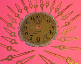 """15 Pairs of Small Vintage Solid Brass Clock Hands + 2 3/8"""" Westclox Baby Ben Alarm Clock Dial for your Clock Projects, Jewelry Making,"""