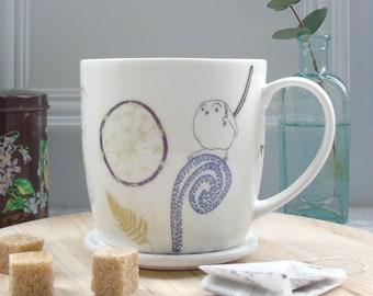 Garden Bird Mug - Bone China Mug - Dandelion Mug - Long Tailed-tit Mug - Gift For Bird Lovers - Coffee Mug - Tea Mug - Bone China Coffee Mug