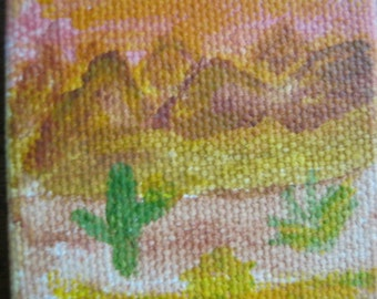 Original Design Acrylic on Mini Canvas Arizona Sunrise