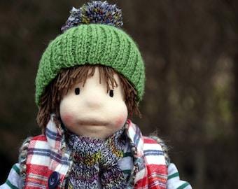 "Andrew waldorf inspired doll, OOAK, fiber art,14"""