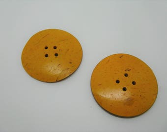 Set of 2 large round buttons coconut 5 colors-yellow ref 7 cm