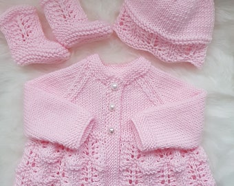 "Isabella Baby Cardigan, Hat & Booties knitting pattern 0-3mths 16"" chest * Instant Download*"