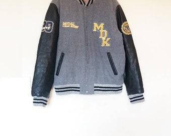 Letterman Jacket Vintage Grey Varsity Jacket Vintage Oversized Letterman Jacket Leather Sleeves Athletic Varsity Jacket Gray Letterman Coat