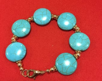 Turquoise howlite and copper bracelet