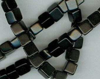 Black Onyx Cubes, 4mm Black Onyx Cube Gemstone Spacer Beads 90 Bead Spacers
