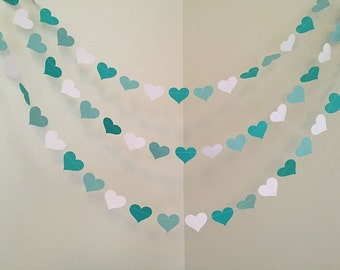 Teal Aqua Paper Hearts Garland Baby Shower Decoration Wedding Decor Bridal Shower Decor Birthday Garland Custom Color 10ft
