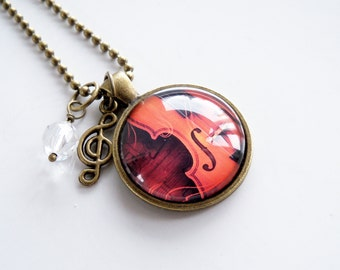 Violin Music Necklace - Classical Violin Pendant - Musical Instrument Jewelry - Music Lover Gift - Violin Teacher Gift - Staff Notes