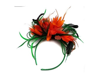 Emerald Green & Orange Feathers Fascinator On Headband