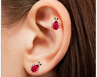 Temporary Tattoo 6 Ladybug Ear Waterproof Fake Tattoos Thin Durable
