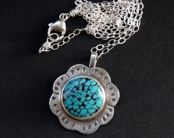 Natural Turquoise Sterling Flower Pendant Necklace