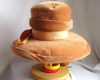Vintage Ladies Velvet Hat / 1960s Wide Brim Tall Crown / Burnt Apricot Fedora / Designer Mr John USA