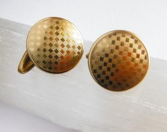 Retractable Cufflinks, Engine Turned, Gold Tone Cufflinks, Art Deco Period,