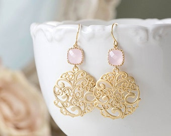 Blush Pink and Gold Dangle Earrings Ice Pink Glass Gold Paisley Filigree Earrings Pink Wedding Bridal Earrings Bridesmaid Earrings Pink Opal