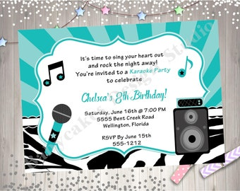 Karaoke Party Birthday Invitation invite Karaoke Birthday Party Printable Invitation Aqua Boy Girl