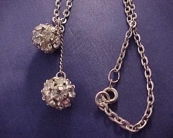 White Rhinestone Ball Necklace