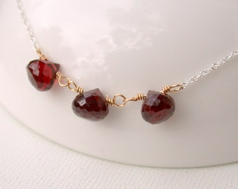 Sale. Garnet Necklace. Birthstone Necklace. January Birthstone Necklace. Gemstone Necklace. Birthstone Necklace.