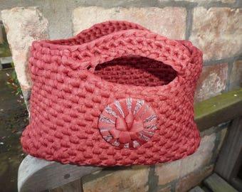 Handmade crocheted Handbag, Fettuccia yarn