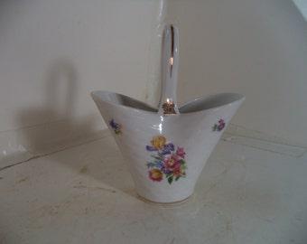 Vintage Porcelain Basket with Flowers