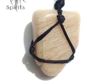 Raw Crystal Necklace Feldspar Pendant Gemstone Beige Light Pink Natural Stone Chakra Reiki Tribal Healing Boho Bohemain Hippie Gift for her