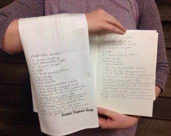 YOUR Handwritten recipe tea towel - original recipe on right just for example