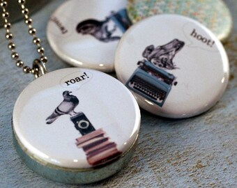 Pigeon Locket Necklace - Lion, Frog - Interchangeable Locket by Polarity - Magnetic Jewelry - Photographer, Writer