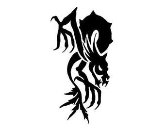 "Demon Monster - Vinyl Decal Sticker - 3.75"" x 7"" - 24 Colors - [#0202]"