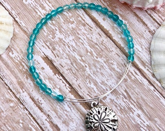 Sand Dollar // Teal Czech Glass Beads // Silver Bangle Bracelet