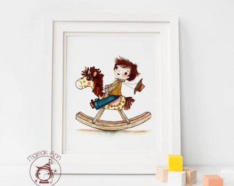 Rocking Horse -  Nursery Decor- baby boy's room - child decor - Baby wall art - boy's room - adorable toy boy cowboy fine art print