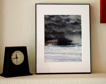 Framed Cloud Painting- Original Watercolor- Moody Storm- Ready To Hang- 10x12- Free US Shipping- Vertical- Black, White Grey