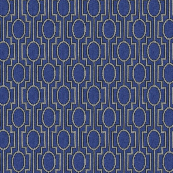 Peacock Blue Moroccan Upholstery Fabric Blue Silver