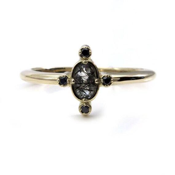 Black Rutile Quartz Tiny Compass Ring with Black Diamonds - 14k Yellow, Rose or White Gold