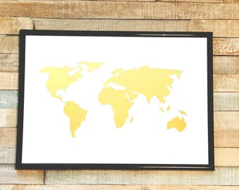 Real Gold Foil World Map Print