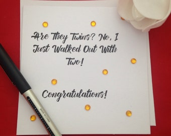 Twin Baby Congratulations Card, Funny Twin Jokes, New Arrivals Cards, New Addition, Welcome To Your New Baby, Congrats Greeting Card,