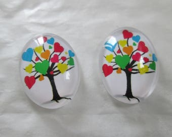 2 cabochons glass 25 x 18 mm tree of life pattern, tree of wisdom