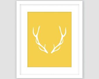 Deer Antlers, White and Mustard Yellow Print, Wall Art, Modern Art, Instant Download, DIY, Printable