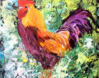 Rooster Art Chicken Original Oil Painting by Tetiana