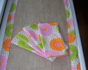 Four Cotton Floral Napkins