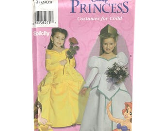 Simplicity 9902 Girl Childs Disney Princess Costume Cosplay Dress Beauty and the Beast Belle Ariel Size 3 8 Uncut Sewing Pattern
