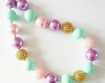 Unicorn chunky necklace/ pastel necklace/ Girls easter accessories/ Girls bubble gum necklace