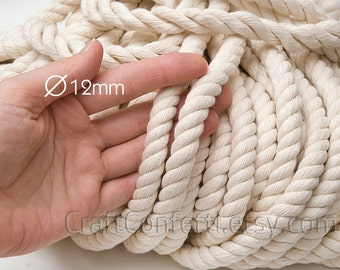 Nautical rope 12mm Beige cotton rope Natural color cotton cord Twisted thick rope Decoration rope Craft supplies Nautical decor / 5 meters