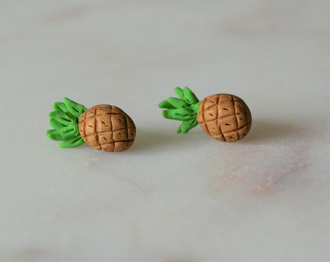 Mini pineapple earrings, Cute handmade gift for her, Fimo pineapple earrings, Pineapple jewelry, Original best friend gift, Fruit earrings