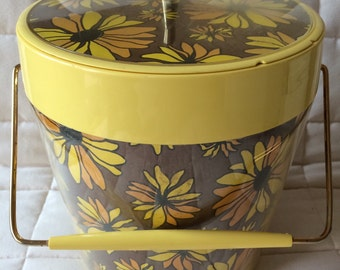 Vintage Thermo-Serv by Westbend ice bucket, daisy flower ice bucket