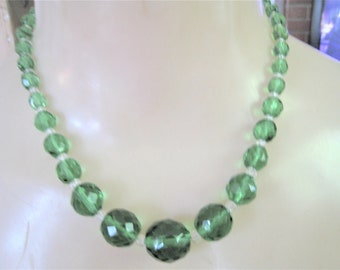 Vintage Lite Green Beads Necklace