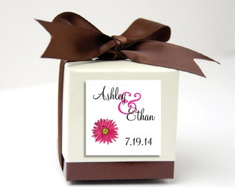 100 Pink Daisy Wedding Favor Stickers. Personalized printed square labels are 2 inches by 2 inches.