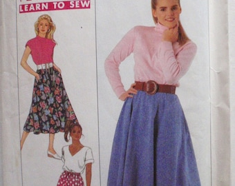 Learn to Sew Pull-On Half Circle Skirt Sewing Pattern - Simplicity 9243- Size Medium, Waist 28 - 30 - MISSING POCKET