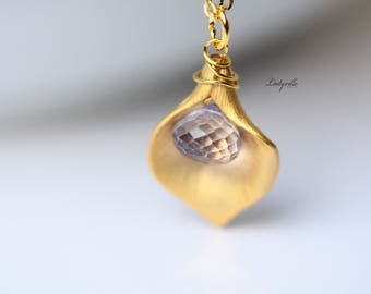 Necklace 925 Sterling Gilded, Calla Mystic Quartz