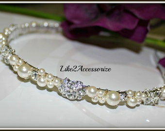 Junior Bridesmaid Pearl Bridal Tiara Headband Wedding Jewelry Bridal Head Piece Rhinestones Pearl Wedding Headband Swarovski Pearl Headband