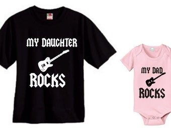 My daughter rocks and my dad rocks daddy and daughter matching shirt and bodysuit set of 2 great gift size choice new father's day